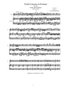 Concerto for Violin and Strings in D Minor, RV 244 Op.12 Nr.2: Version for violin and cembalo (or piano) by Antonio Vivaldi