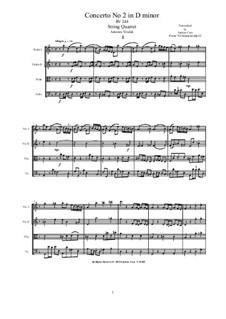Concerto for Violin and Strings in D Minor, RV 244 Op.12 Nr.2: Version for string quartet by Antonio Vivaldi