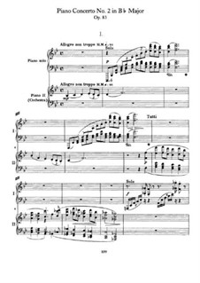 Concerto for Piano and Orchestra No.2 in B Flat Major, Op.83: Version for two pianos four hands by Johannes Brahms