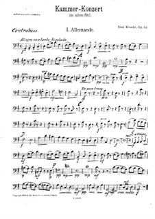 Chamber Concerto in the Old Style for Flute and String Orchestra, Op.112: Double Bass Part by Emil Kronke