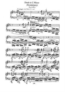 No.12 in C Minor: For piano by Frédéric Chopin