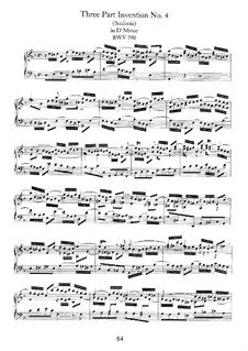 No.4 in D Minor, BWV 790: For piano by Johann Sebastian Bach