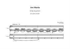 Ave Maria, D.839 Op.52 No.6: For piano four hands – score and parts by Franz Schubert