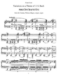 Variations on Theme from 'Weinen, Klagen, Sorgen, Zagen' by J. S. Bach, S.180: For piano by Franz Liszt
