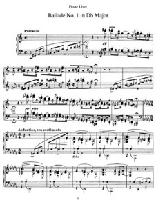 Ballade No.1 in D Flat Major, S.170: For piano by Franz Liszt