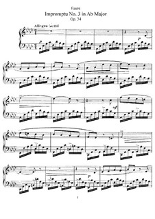 Impromptu for Piano No.3 in A Flat Major, Op.34: For a single performer by Gabriel Fauré