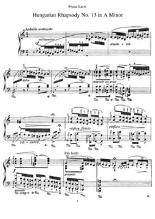 No.13 in A Minor, S.244: For piano by Franz Liszt
