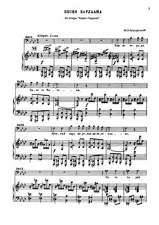 Varlaam's Song 'Once in the Town of Kazan': For voice and piano by Modest Mussorgsky