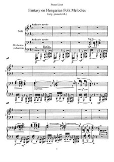 Fantasia on Hungarian Folk Melodies, S.123: For two pianos four hands by Franz Liszt