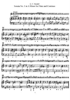 Sonata for Flute and Harpsichord No.1 in A Minor, HWV 374: Score by Georg Friedrich Händel