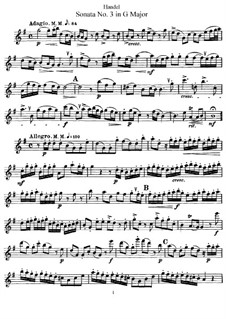 Sonata for Flute and Harpsichord in G Major, HWV 363b Op.1 No.5: Solo part by Georg Friedrich Händel