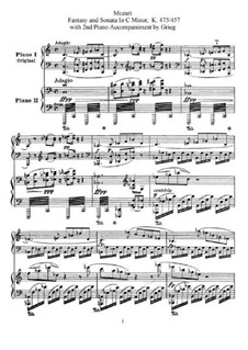 Fantasia No.4 in C Minor and Sonata No.14 in C Minor, K.475, 457: For two pianos four hands by Wolfgang Amadeus Mozart