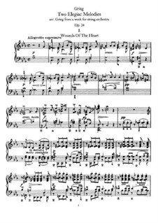 Two Elegiac Melodies, Op.34: For piano by Edvard Grieg