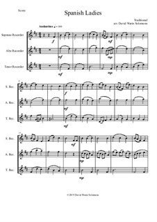 15 easy trios for recorder trio (soprano, alto, tenor): Spanish Ladies by folklore
