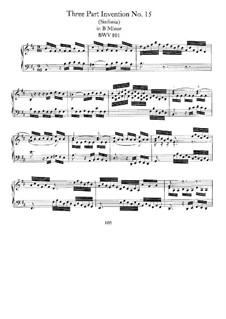 No.15 in B Minor, BWV 801: For keyboard by Johann Sebastian Bach