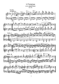 Twelve Variations on an Allegretto, K.500: For piano by Wolfgang Amadeus Mozart