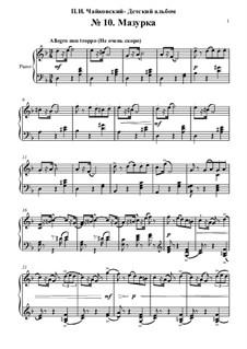 No.10 Mazurka: For piano by Pyotr Tchaikovsky