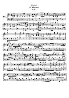 Twenty Minuets, D.41: For piano by Franz Schubert
