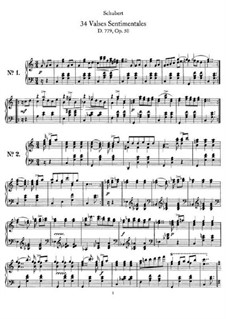 Thirty-Four Sentimental Waltzes, D.779 Op.50: Complete set by Franz Schubert