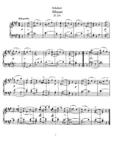 Minuet for Piano in A Major, D.334: For a single performer by Franz Schubert