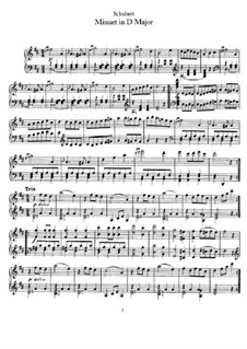 Minuet for Piano in D Major, D.336: For a single performer by Franz Schubert