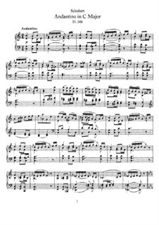Andantino for Piano in C Major (Fragment), D.348: For a single performer by Franz Schubert