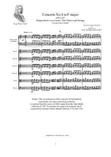 Concerto No.4 in F Major, HWV 292: Arrangement for harpsichord, winds and strings by Georg Friedrich Händel