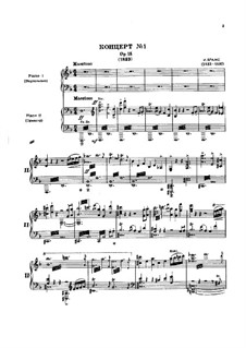 Concerto for Piano and Orchestra No.1 in D Minor, Op.15: Movement I. Version for two pianos four hands by Johannes Brahms