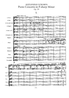 Concerto for Piano and Orchestra in F Sharp Minor, Op.20: Full score by Alexander Scriabin
