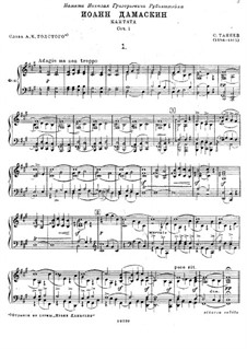 John of Damascus, Op.1: Piano-vocal score by Sergei Taneyev