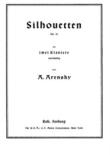 Suite for Two Pianos Four Hands No.2 'Silhouettes', Op.23: First part, second part by Anton Arensky