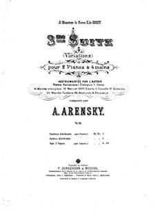 Suite for Two Pianos Four Hands No.3 'Variations', Op.33: Piano I part by Anton Arensky