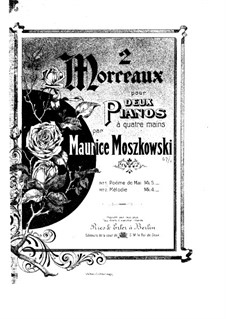 Two Pieces for Piano, Op.67: No.1 Poème de mai, for two pianos four hands by Moritz Moszkowski