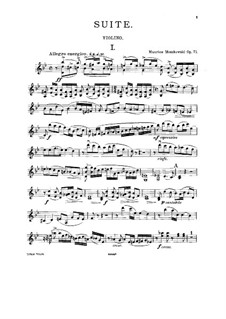 Suite for Two Violins and Piano, Op.71: For two violins (or violin and cello) and piano – violin I part by Moritz Moszkowski
