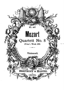 String Quartet No.8 in F Major, K.168: Cello part by Wolfgang Amadeus Mozart
