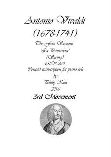 Violin Concerto No.1 in E Major 'La primavera', RV 269: Movement III, for piano by Antonio Vivaldi