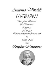 Violin Concerto No.1 in E Major 'La primavera', RV 269: Arrangement for piano solo by Antonio Vivaldi