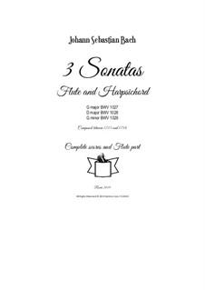 3 Sonatas for Flute and Harpsichord (or Piano), BWV 1027/28/29: 3 Sonatas for Flute and Harpsichord (or Piano) by Johann Sebastian Bach