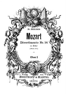 Divertissement in B Flat Major, K.270: Oboe I part by Wolfgang Amadeus Mozart