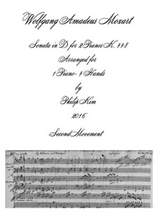 Sonata for Two Pianos Four Hands in D Major, K.448 (375a): Movement II. Arrangement for piano four hands by Wolfgang Amadeus Mozart