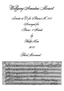 Sonata for Two Pianos Four Hands in D Major, K.448 (375a): Movement III. Arrangement for piano four hands by Wolfgang Amadeus Mozart