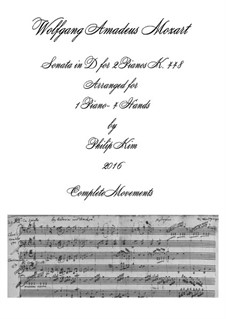 Sonata for Two Pianos Four Hands in D Major, K.448 (375a): Complete. Arrangement for piano four hands by Wolfgang Amadeus Mozart