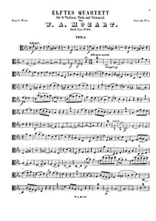 String Quartet No.11 in E Flat Major, K.171: Viola part by Wolfgang Amadeus Mozart