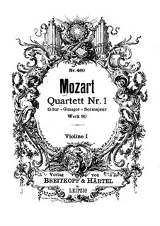 String Quartet No.1 in G Major, K.80/73f: Violin I part by Wolfgang Amadeus Mozart