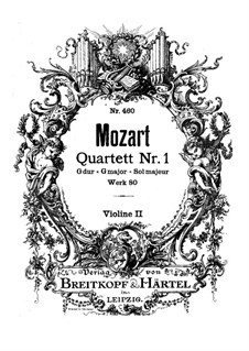 String Quartet No.1 in G Major, K.80/73f: Violin II part by Wolfgang Amadeus Mozart