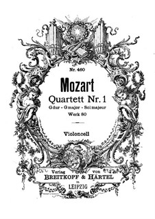 String Quartet No.1 in G Major, K.80/73f: Cello part by Wolfgang Amadeus Mozart