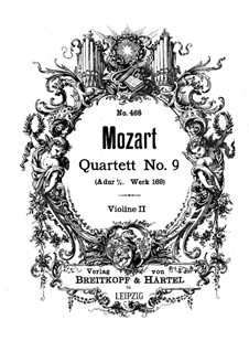 String Quartet No.9 in A Major, K.169: Violin II part by Wolfgang Amadeus Mozart