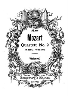 String Quartet No.9 in A Major, K.169: Cello part by Wolfgang Amadeus Mozart