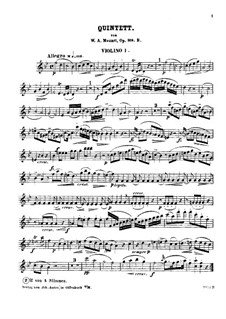 Quintet for Clarinet and Strings in A Major, K.581: Violin I part (B Flat Major) by Wolfgang Amadeus Mozart