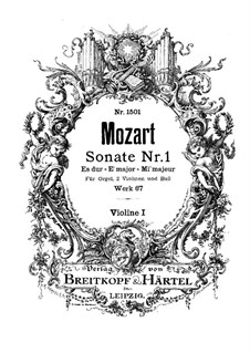 Sonata for Two Violins, Organ and Basso Continuo in E Flat Major, K.67: Violin I part by Wolfgang Amadeus Mozart